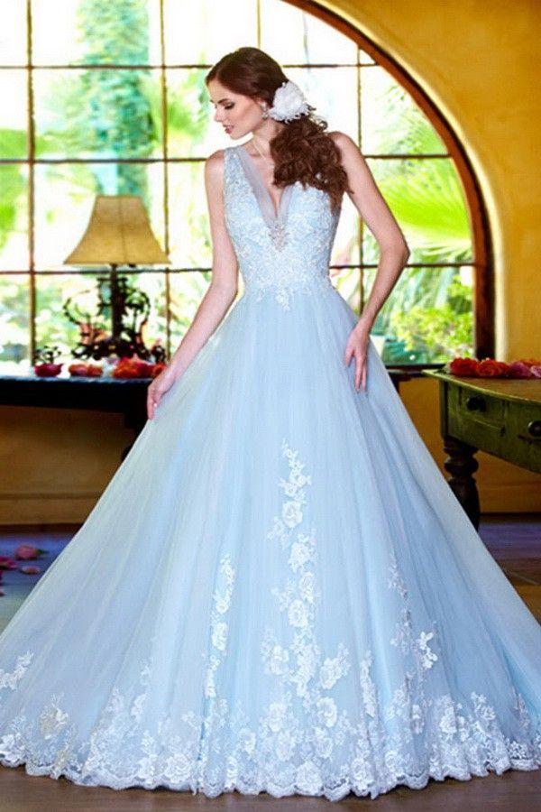 New Look Tulle Blue A-Line V-Neck Bridal Wedding Dress