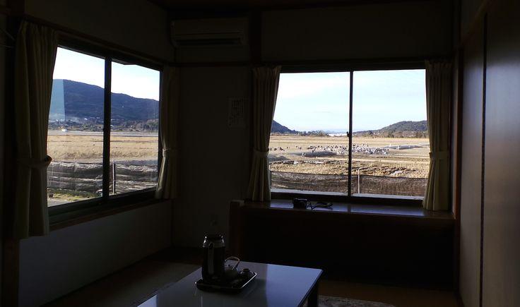 Vue de la chambre du ryokan Shin Tsurumi Tei, idéal pour observer les grues, Izumi #Kyushu #Japon #ryokan