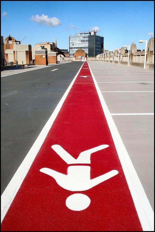 Pedestrian walkway in Bristol car park