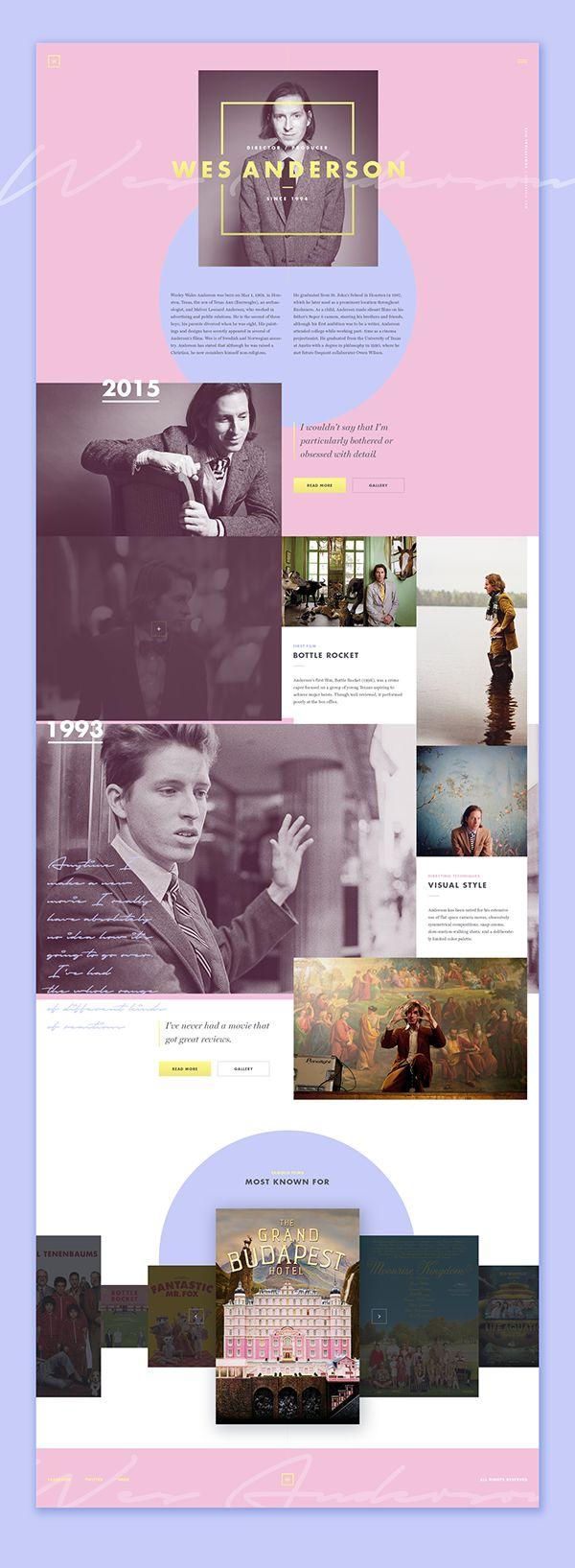 Adrián Somoza - BEHANCE  Wes Anderson (concept) Dirección artística Interfaz y Exp. de usuario Diseño web.