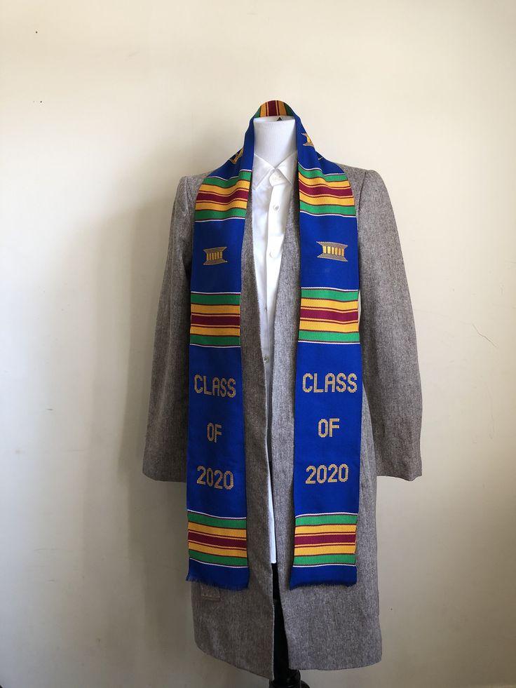 Custom graduation stole class of 2020 blue kente stole