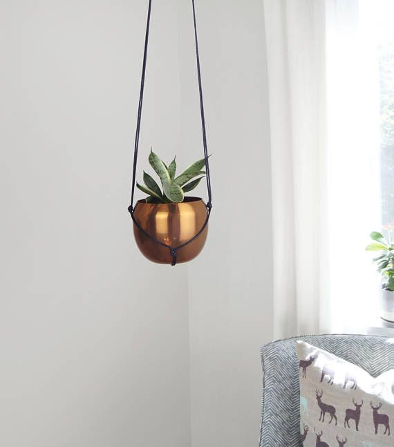 Modern Round Hanging Planter / Vintage Copper Plant Pot &