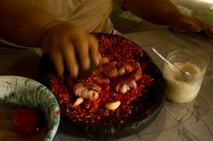 Making of the Indonesian sambal, Sumatra, Indonesia