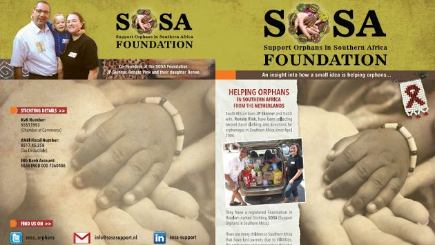 "We have a small foundation: #sosasupport Support Orphans in Southern Africa. During our holiday this December, we are joining Out of Africa Children's Foundation to arrange a Christmas lunch for 120 children in Cape Town. Every dollar / euro is used for the children, and only for the children.  SOSA have the option to accept online donations via the following link: https://www.geef.nl/donatiemodule/taal:en/doel:sosasupport/  ""Thank you"" ""Baie dankie (Afrikaans) "" ""Ngiyabonga (Zulu)"""