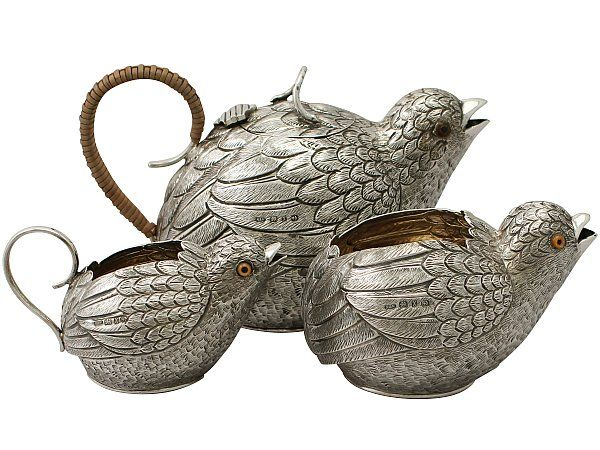 'Bird Tea Set in Sterling Silver' A magnificent, fine and impressive, rare antique Victorian English sterling silver three piece tea service modelled in the form of birds.