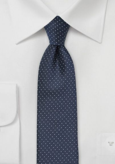 Slim tie - Small dark blue diamond dots on beige Notch