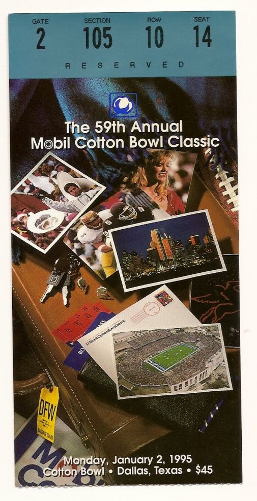 1995 Cotton Bowl Game Ticket Stub USC Trojans Texas Tech....if you like this you can find many more college bowl game tickets for sale at www.everythingcollectibles.biz