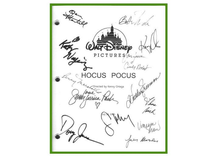 Hocus Pocus Movie Script Signed Screenplay Autographed: Kenny Ortega, Bette Midler, Sarah Jessica Parker, Kathy Najimy, Thora Birch by hollywoodfinds on Etsy https://www.etsy.com/listing/213911343/hocus-pocus-movie-script-signed