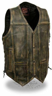 Men's 10 Pocket Distressed Retro Brn Leather vest with 2 Gun pockets inside