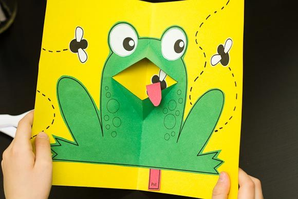 My kids LOVE pop-up books, so making their own pop-up frog was a complete hit!