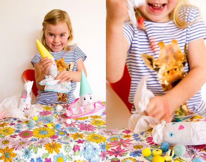 Clown party poppers by Véronique from Pichouline what you'll need: *Cardboard inner from a toilet or kitchen roll *white and/or coloured crepe paper *masking tape - tape *cord *stickers or paper figures *glue *coloured paper *candy Step 1 – for...