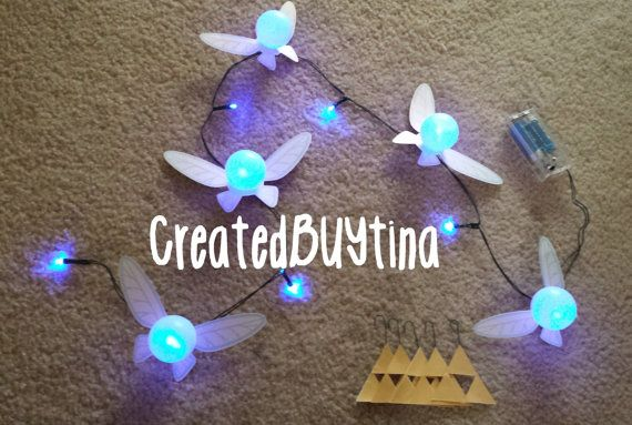 Legend of Zelda Fairy String Light blue with *BONUS* triforce, rupee, tears of light and Hylian Shield decoration