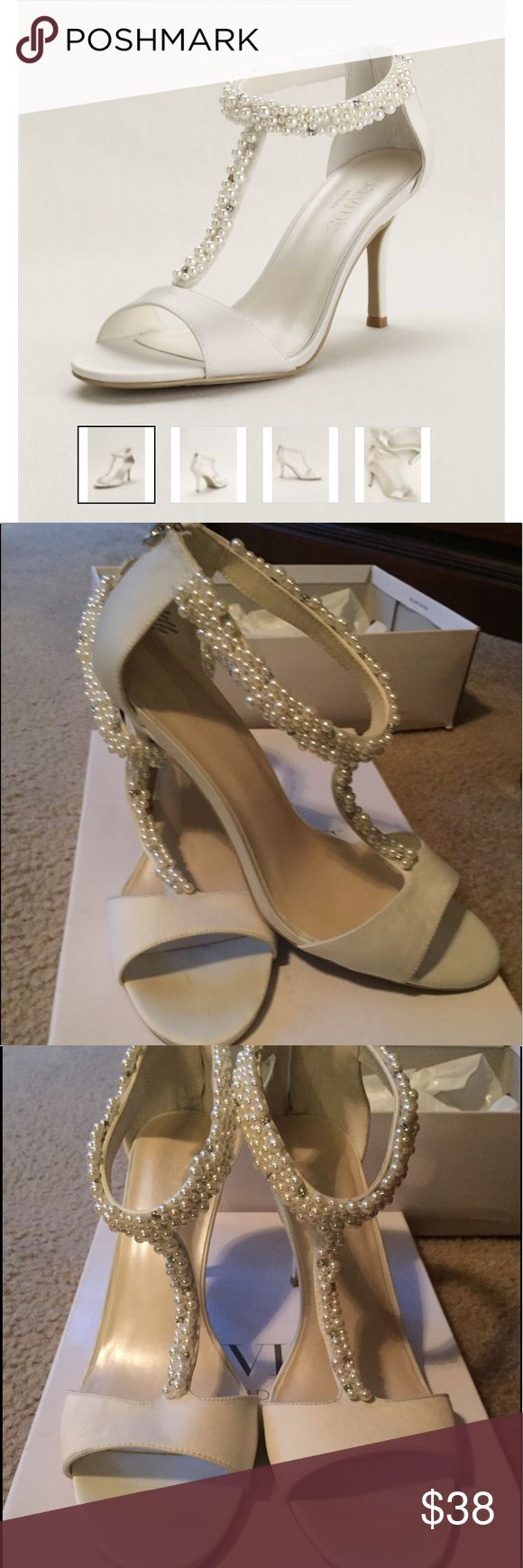 """Tstrap pearl wedding sandals Worn once! This beautiful sandals are 3"""" tall and are still showing retail for 69.99 at David's Bridal. Size 9. Ivory color. David's Bridal Shoes Heels"""