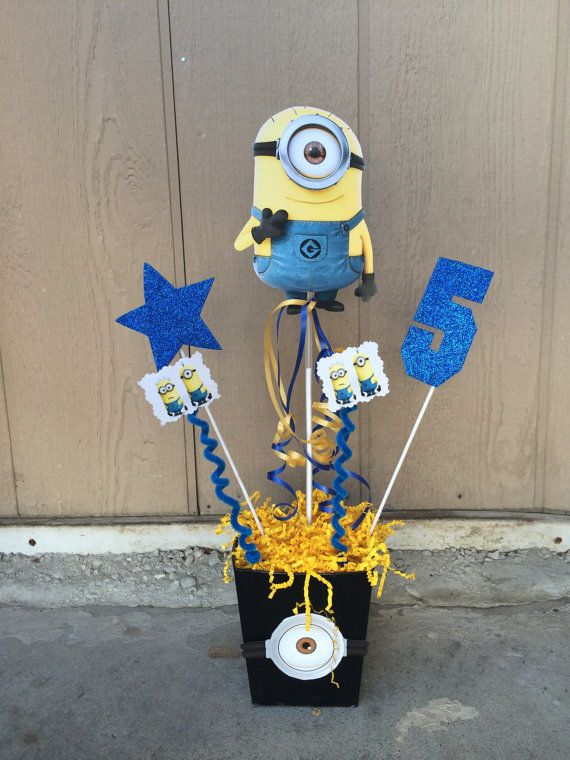 Despicable Me or Minions Party Theme!! please let us know the number you want in the centerpiece