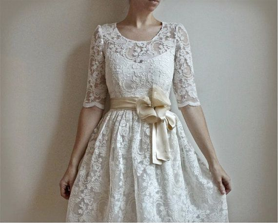 Ellie2 Piece Lace and Cotton Wedding Dress by Leanimal on Etsy, $695.00