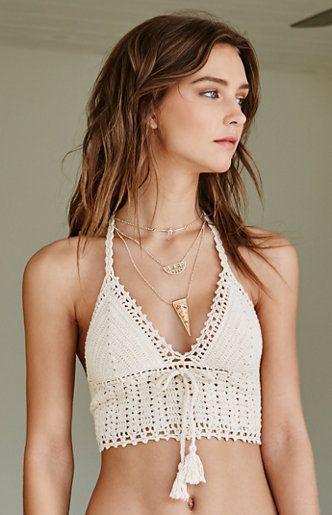Crochet Tie Back Cropped Bikini Top