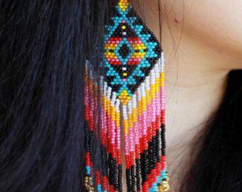 Peyote stitch earrings huichol earrings by HelenDmitrenkoShop
