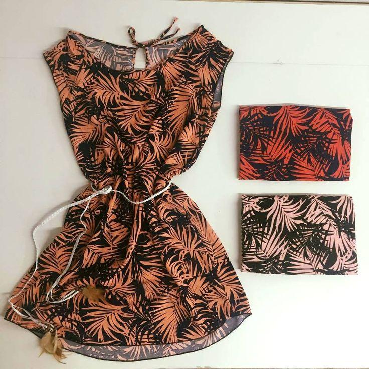 Articulo: Remeron Vestido Palmera Talle: 2 único Material: Fibrana estampado Estampado: corte láser Precio: $145 Cinturón: $30