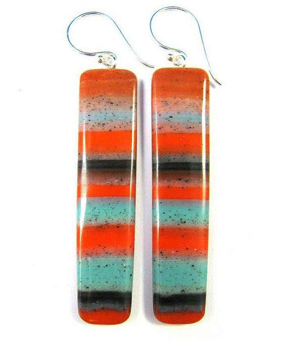 Polymer Clay Earrings - Southwestern Landscapes Series - Indian Summer Earrings