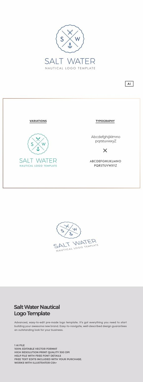 Salt Water Nautical Logo Template https://creativemarket.com/MeeraG/796049-Salt-Water-Nautical-Logo-Template #design #art #graphicdesign