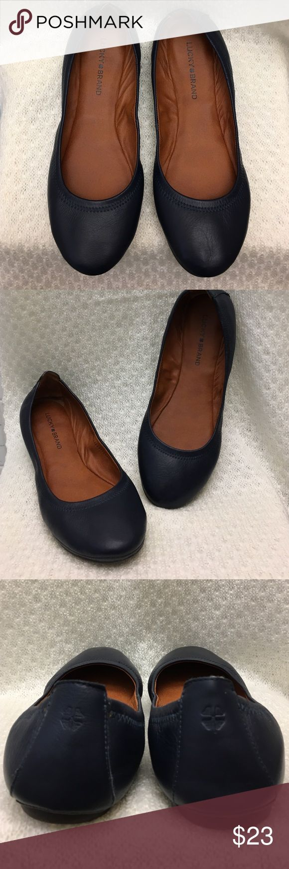 """Lucky Brand """"Emmie"""" Flats Pre-Owned gently used. Fabric: soft, Flexible material, Leather. Round toe. size: 10 Lucky Brand Shoes Flats & Loafers"""