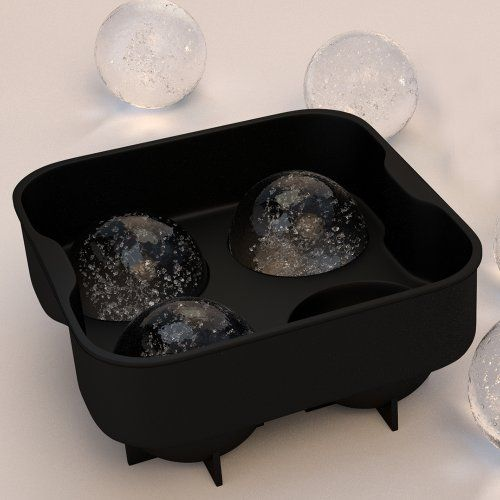 Sphere Ice Ball Maker - Classic Black Silicone Ice Ball Mold with 4 X 2 Ball capacity tray. Flexible round silicone mold for easy removal of ice balls. Taste the whiskey not the water. Like Macallan's Ice Press Machine. Large round ice melts slower. by Simple Home Creations, http://www.amazon.com/dp/B00CBM3A8Y/ref=cm_sw_r_pi_dp_XPW7rb0JEF85M
