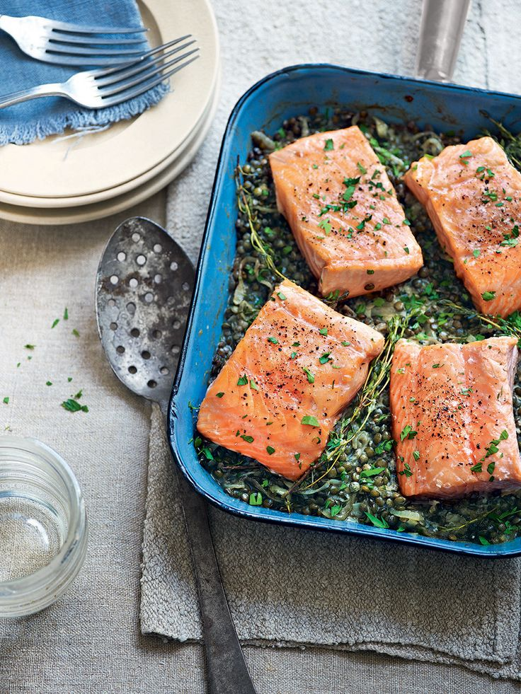 This easy salmon and horseradish cream lentils recipe would make an elegant dinner party main.