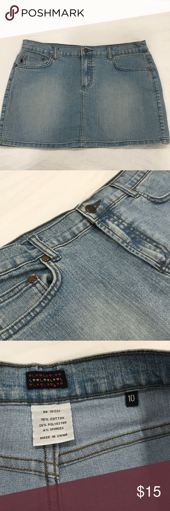 Short Jean Skirt Cute jean skirt. Light denim. Has pockets and is in great shape! Rampage Skirts Mini