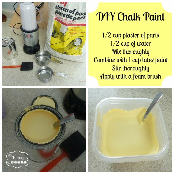 DIY Chalk Paint Recipe -  I don't recommend a foam brush, it makes the paint streak.