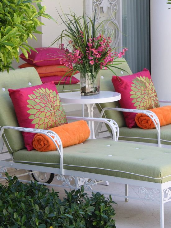 retro chaise lounges with a cleaned up modern vibe with the color pop