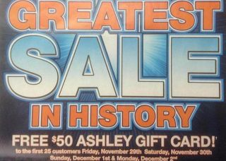 Black Friday Freebies 2013: Free Ashley Furniture $50 Gift Card | Spend Less, Shop More