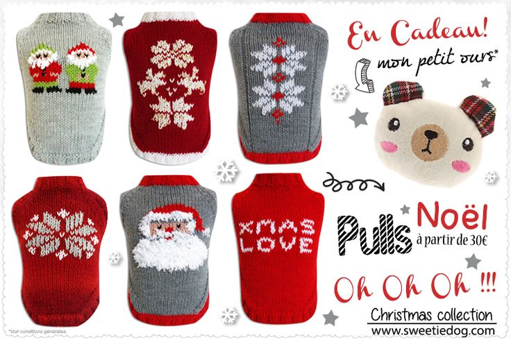Pulls de fête pour chiens - Sweetie Dog www.sweetiedog.com #dogaccessories #bear #dog #chien #dogclothes #cuddlecup #christmas #christmasclothes