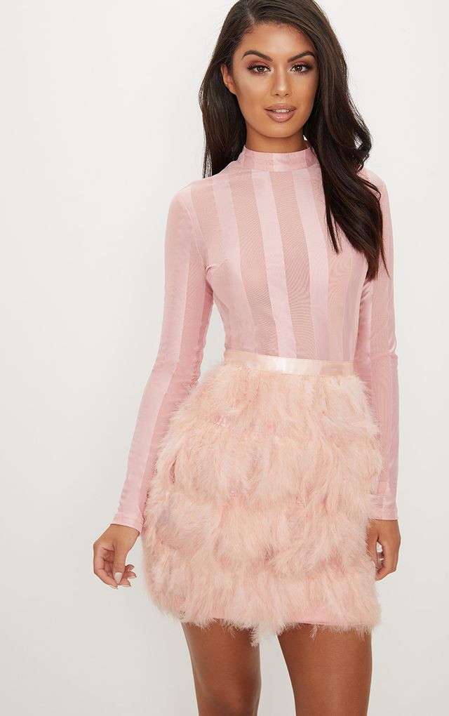 3c13d76e271 Dusty Pink Feather Skirt Bodycon Dress