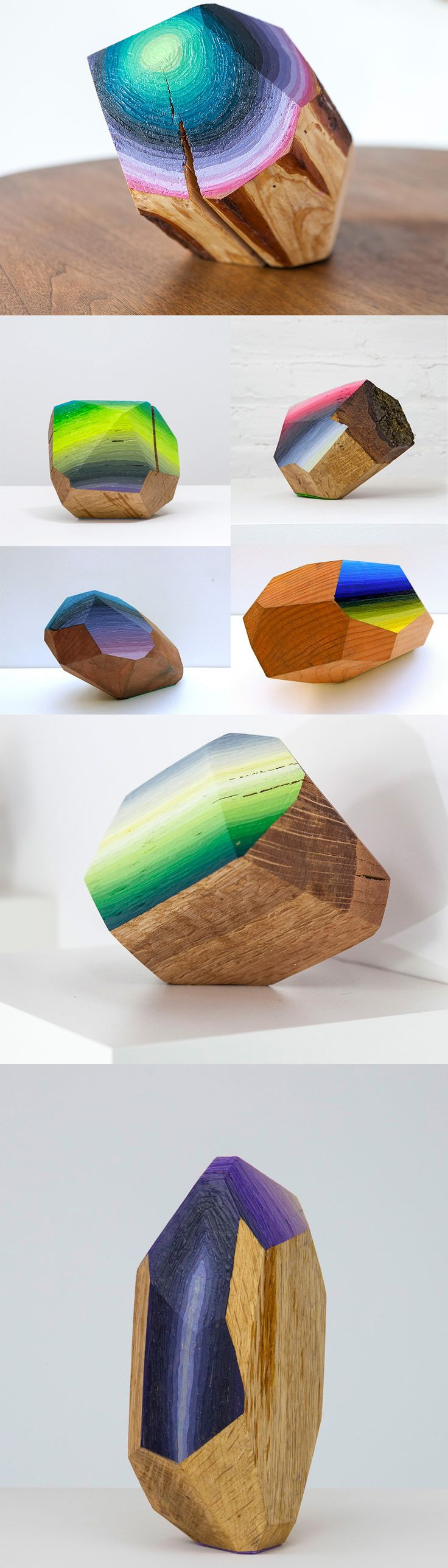 Wood Blocks Carved and Painted into Glimmering Gemlike Objects by Victoria Wagner