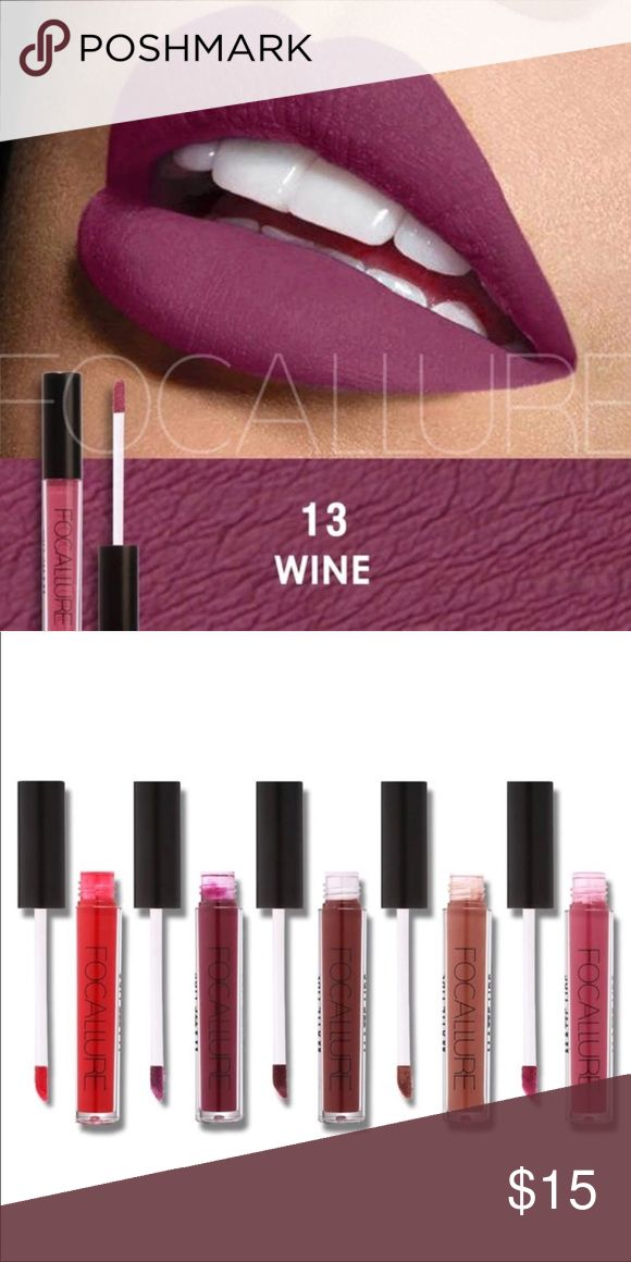 Wine Colored Lipstick Wine Focallure Liquid Matte Lipstick.  A highly comfortable, long wear liquid lipstick that dries matte with intense color pay-off and transfer-proof properties. The lightweight formula glides on a thin coat of color that intensifies as it sets to a matte, transfer-free finish with amazing staying power.   Additional colors available in separate listings. Focallure Makeup Lipstick