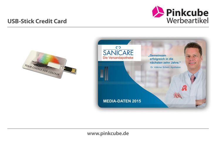 Pinkcube lieferte neuen USB-Sticks im Credit-Card Format für Sanicare, die Versandapotheke. Die USB-Sticks wurden Full-Color bedruckt.  http://www.usbstickcenter.de/usb-stick-credit-card.html  Die Pinkcube USB Credit Card hat die gleiche Größe wie eine normale Kreditkarte. Sie ist ultradünn, hat einen ausklappbaren USB Anschluss und passt somit einfach in jedes Portemonnee. Beide Seiten können komplett mit einem hochwertigen Vollfarbdruck personalisiert werden.