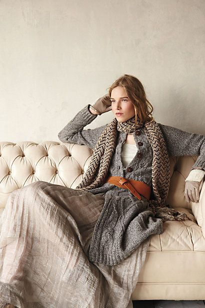 Long sweater, long skirt, scarf, earthy neutrals, knits, wool, cotton, layering for the cool, colder days  nights. Favorite time for fashion style is the fall  winter time due to being able to layer  having that warm feeling of being bundled up in such comfy clothes.