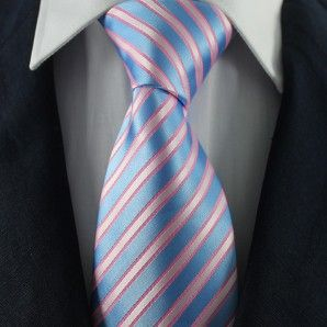Blue (Pink) & White Striped Neckties / Formal Business Neckties