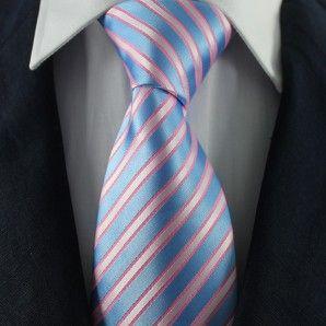 Blue (Pink) & White Striped Neckties / Formal Business Neckties