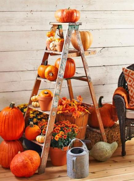 How to make this easy outdoor fall display for your porch or deck: http://www.midwestliving.com/homes/seasonal-decorating/3-outdoor-displays-for-fall/?page=4