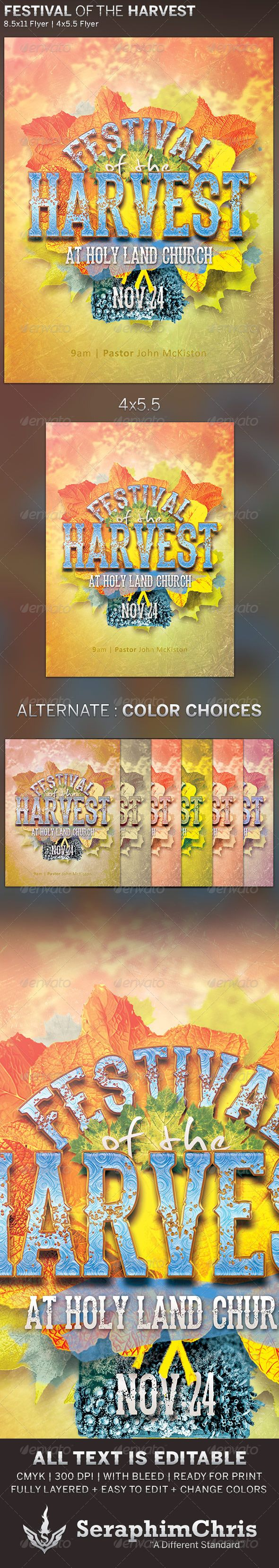 Festival of the Harvest: Church Flyer Template — Photoshop PSD #seasons #dance • Available here → https://graphicriver.net/item/festival-of-the-harvest-church-flyer-template/5842815?ref=pxcr