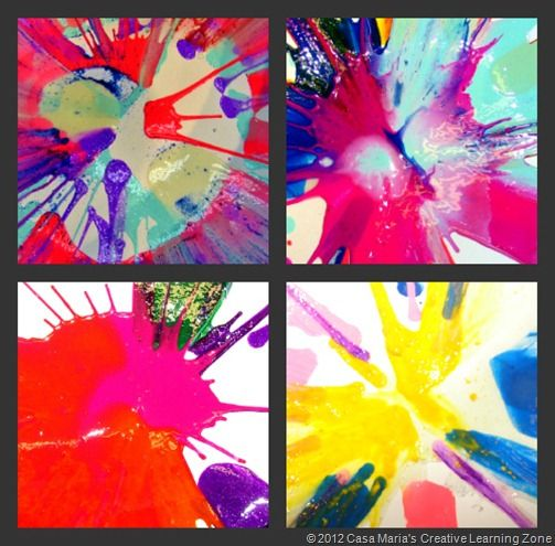 Gorgeous spin art using salad spinner, paint, and hair gel. I love the way this teacher displays her children's artwork.