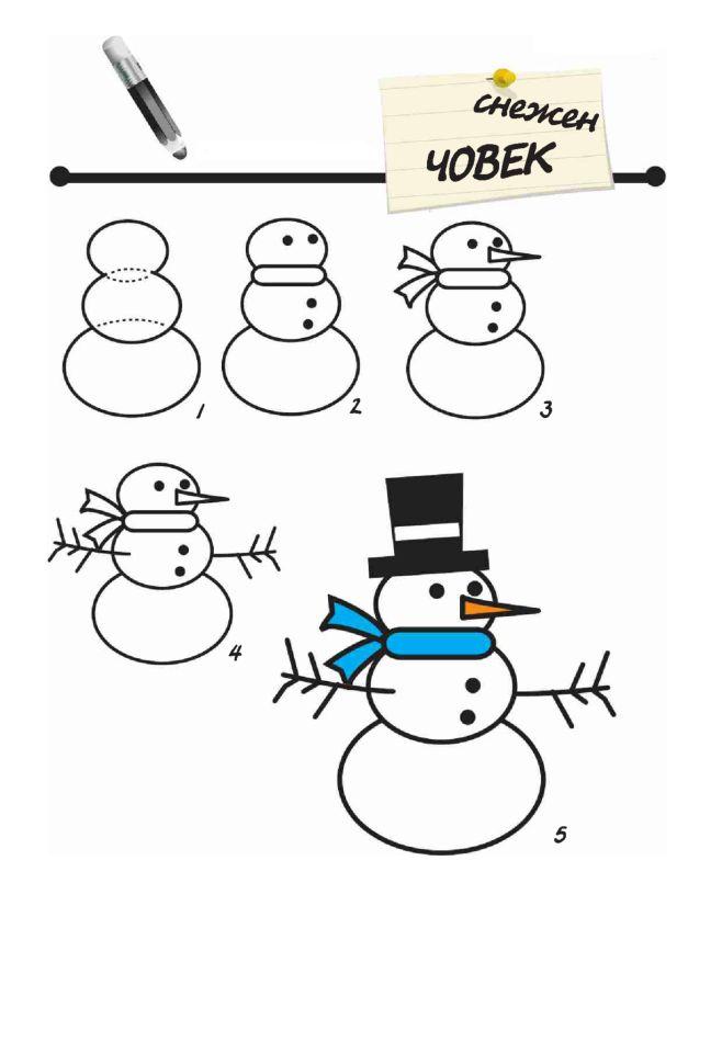 sneeuwpop tekenen / cómo dibujar un muñeco de nieve