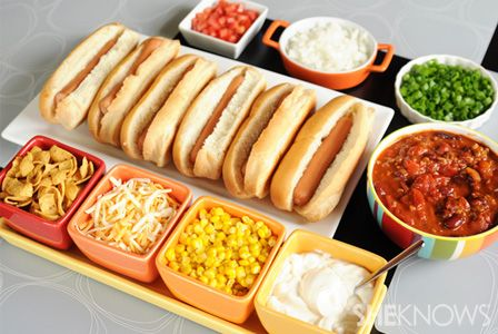Chili hot dog bar with toppings | Football Party Ideas #kickoff