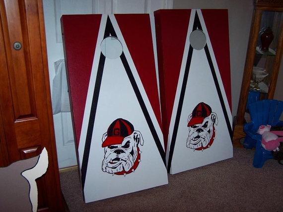 UGA Cornhole Boards by handmadesbyKaren on Etsy, $140.00