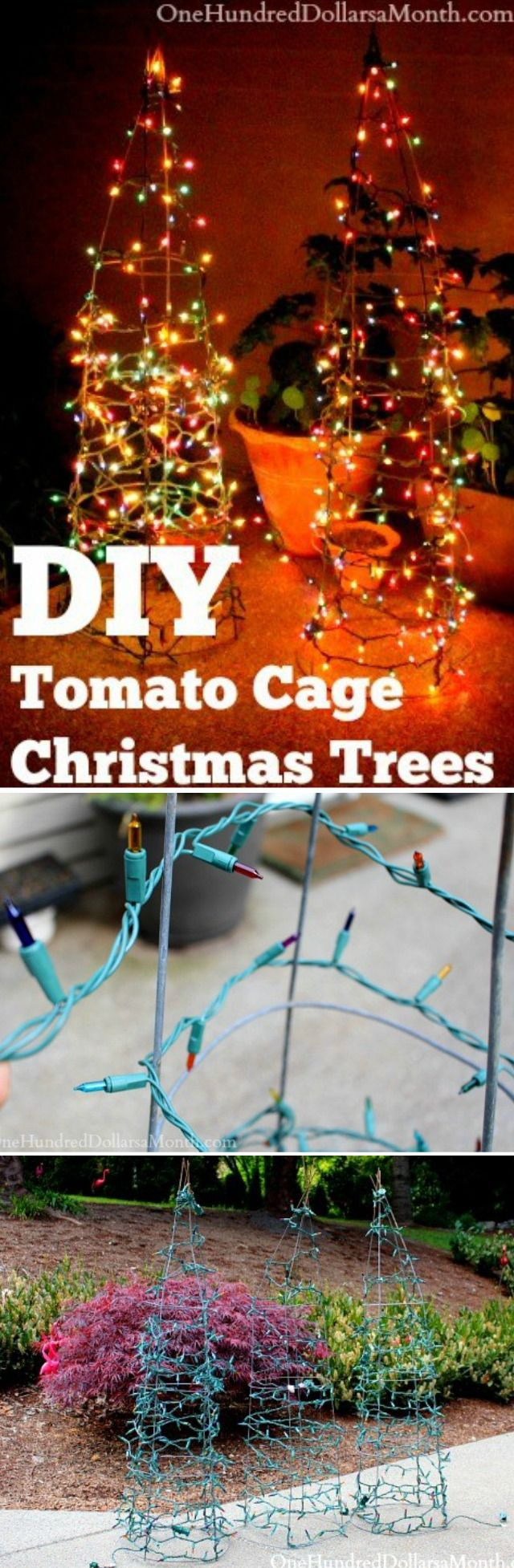 DIY, DIY Christmas Tree Ideas, Tomato Cage Crafts, Tomato Cage Christmas Trees, Christmas Crafts, Christmas Garden Ideas