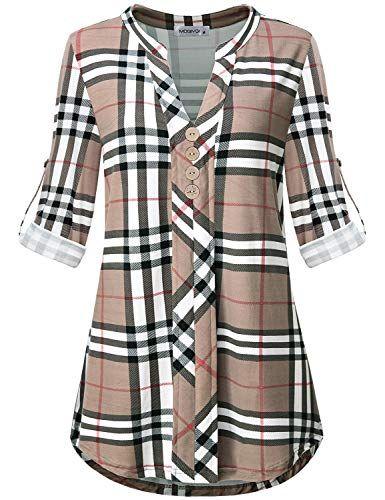 57d4df038c97 MOQIVGI Womens Roll Tab Sleeve V Neck Plaid Shirts Trendy Casual Checkered  Blouse Tops