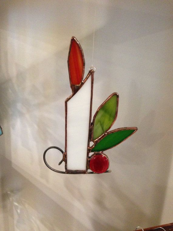 Stained Glass Candle with Berry and Greens Ornament