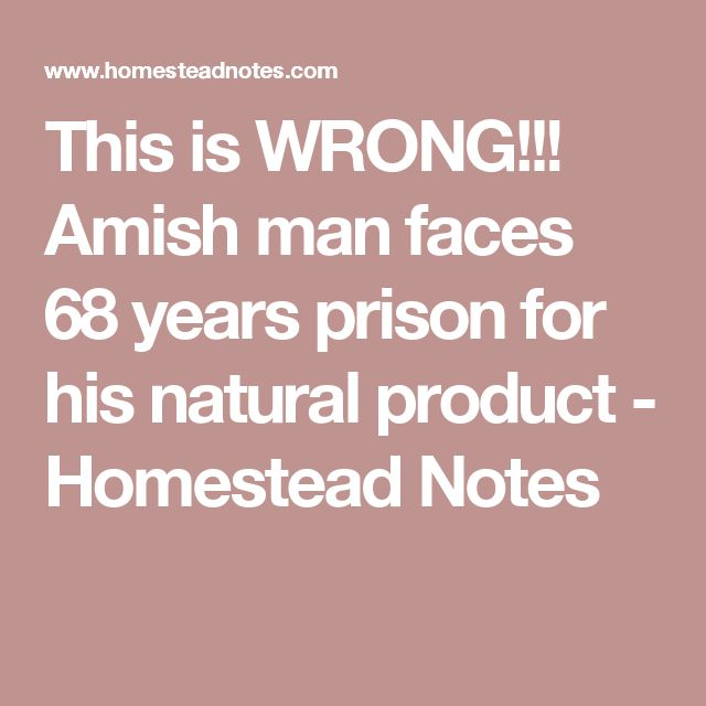 This is WRONG!!! Amish man faces 68 years prison for his natural product - Homestead Notes