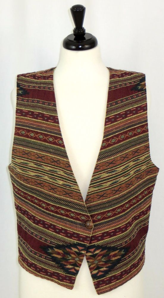 Womens Orvis Vest Southwestern Tapestry One-Button Front Burgundy Size S #Orvis